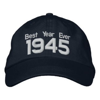 1945 or Any Year 70th Birthday A10 BLACK and WHITE Embroidered Hats