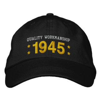 1945 or Any Year 70th Birthday A5 BLACK and GOLD Embroidered Baseball Cap