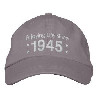1945 or Any Year 70th Birthday A5A GRAY and WHITE Embroidered Cap