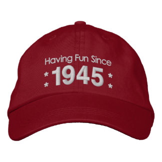 1945 or Any Year 70th Birthday A5B RED and WHITE Embroidered Hat