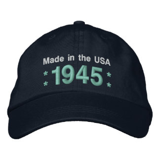 1945 or Any Year 70th Birthday A6 BLACK and TEAL Embroidered Cap