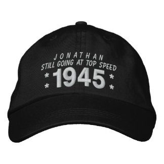 1945 or Any Year 70th Birthday A6 BLACK and WHITE Embroidered Baseball Caps