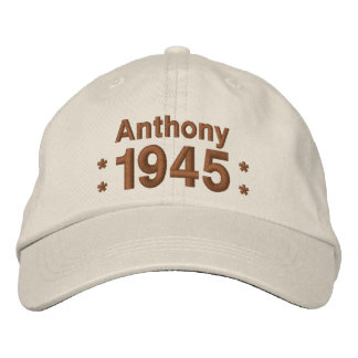 1945 or Any Year 70th Birthday A9 CREAM and BROWN Embroidered Hats