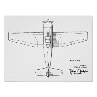 1946 Vintage Airplane Patent Art Drawing Print