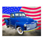 1947 Chevrolet Thriftmaster Pickup With US Flag Post Cards