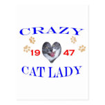 1947 Crazy Cat Lady Postcard