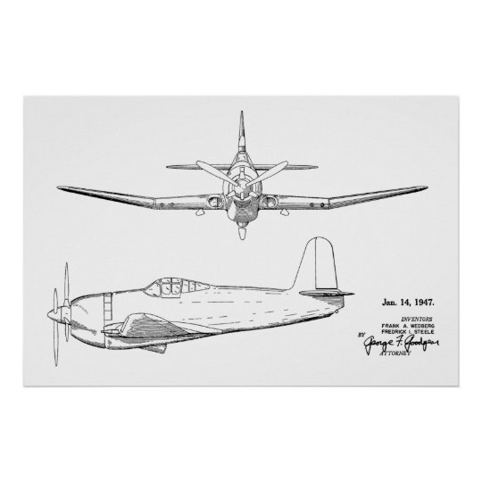 1947 Vintage Aeroplane Patent Drawing Art Print