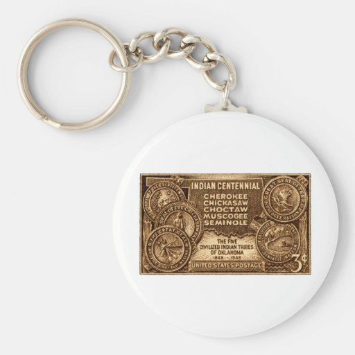1948 Oklahoma Indian Centennial Stamp Basic Round Button Key Ring