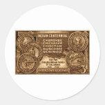 1948 Oklahoma Indian Centennial Stamp Round Stickers