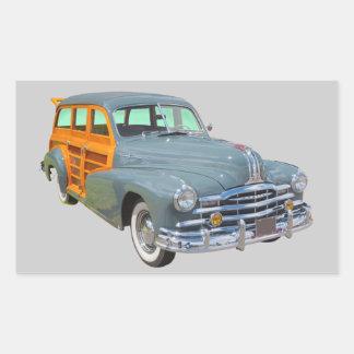 1948 Pontiac Silver Streak Woody Antique Car Rectangular Sticker