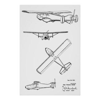1949 Rear Prop Airplane Patent Art Drawing Print