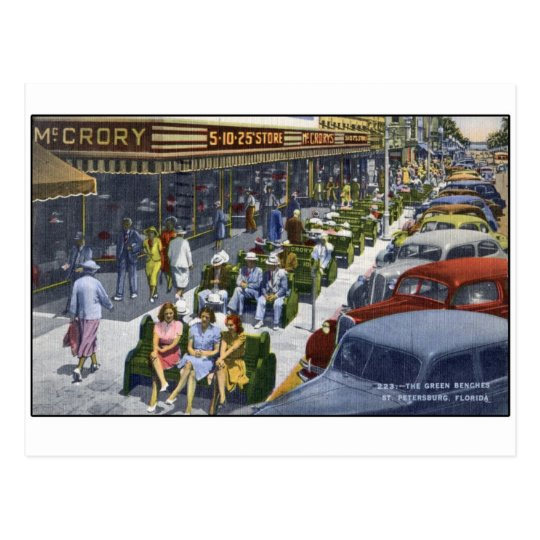"""1949 St Petersburg Florida """"The Green Benches"""" Postcard"""