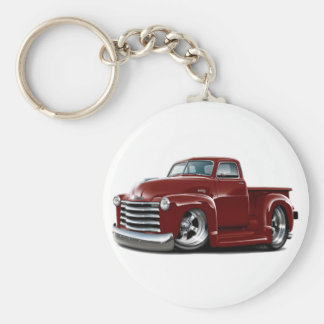 1950-52 Chevy Maroon Truck Basic Round Button Key Ring