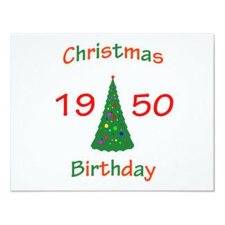 1950 Christmas Birthday 11 Cm X 14 Cm Invitation Card