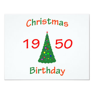 1950 Christmas Birthday 4.25x5.5 Paper Invitation Card