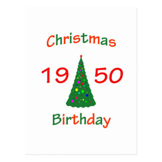 1950 Christmas Birthday Postcard