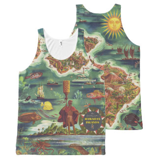 1950 Dole Map of Hawaii Joseph Feher Oil Paint All-Over Print Tank Top