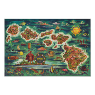 1950 Dole Map of Hawaii Joseph Feher Oil Paint Poster