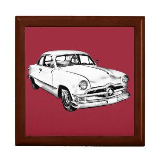1950  Ford Custom Antique Car Illustration Keepsake Boxes
