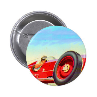 1950 red racing car 6 cm round badge