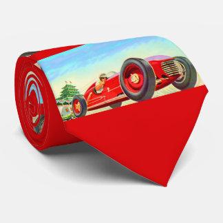 1950 red racing car print tie