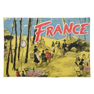 1950 Vintage France Advertisement Yellow Cafe Park Place Mats