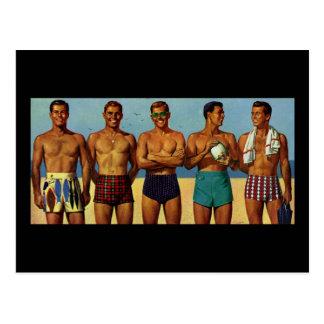 1950s Beach Dudes Post Cards