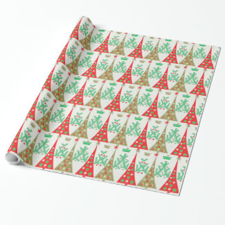 1950s Cartoon Christmas Tree Wrapping Paper