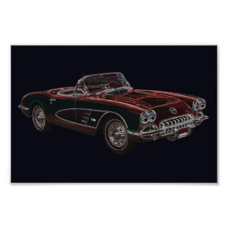 1950's Chevrolet Corvette Convertible Photographic Print