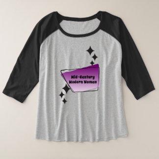 1950s Design Mid-Century Modern Woman Plus Size Raglan T-Shirt