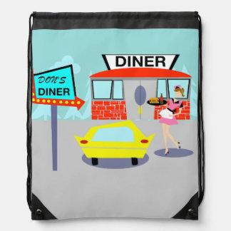 1950's Diner Drawstring Backpack