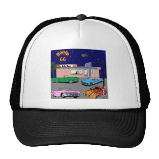 1950s Diner Route 66 and Vintage Cars Cap