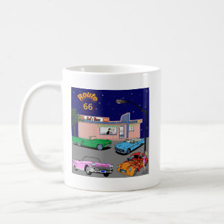 1950s Diner Route 66 and Vintage Cars Coffee Mug