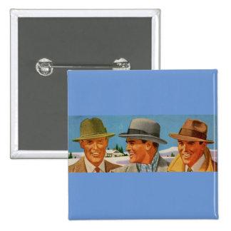 1950s fedora-wearing trio 15 cm square badge