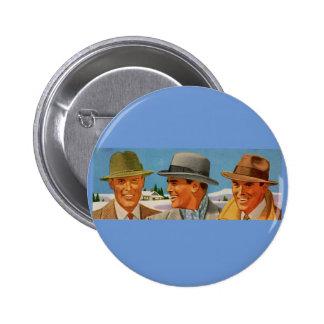 1950s fedora-wearing trio 6 cm round badge