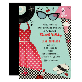 1950's Fifties Dress Up Retro Vintage Invitations