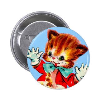 1950s jazz hands kitten 6 cm round badge