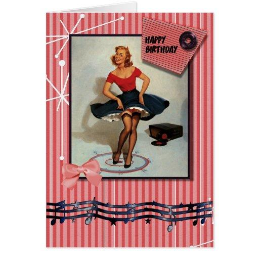 1950s jiving pin up girl greeting cards