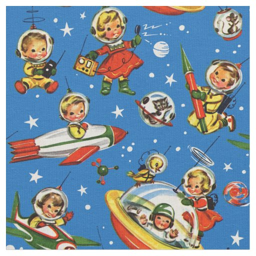 1950s Kids in Space -UFOs and Rockets Fabric