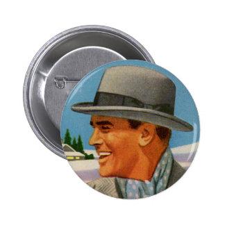 1950s man and hat 6 cm round badge