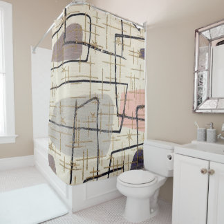 1950s Mod Print Shower Curtain