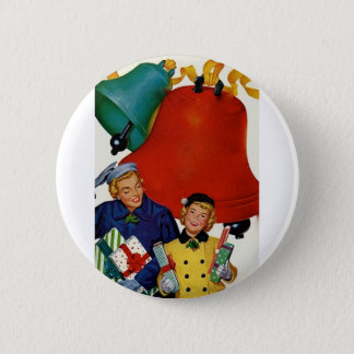 1950s Mom and Daughter Xmas Shopping 6 Cm Round Badge