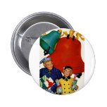 1950s Mom and Daughter Xmas Shopping Button