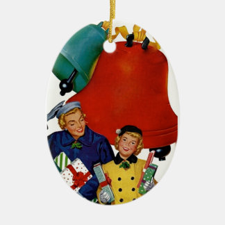 1950s Mom and Daughter Xmas Shopping Christmas Ornament
