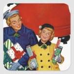 1950s Mom and Daughter Xmas Shopping Stickers