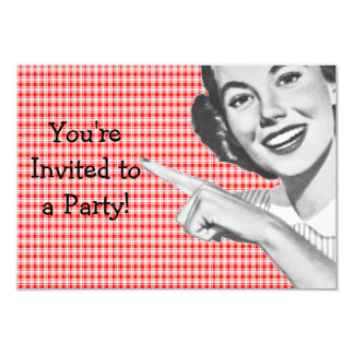"""1950s Pointing Young Woman V2 3.5"""" X 5"""" Invitation Card"""
