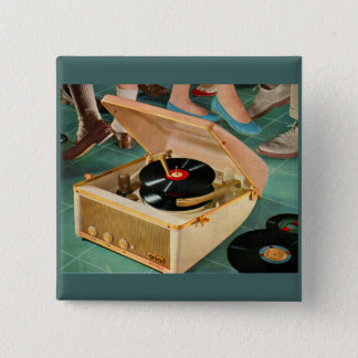 1950s portable record player ad 15 cm square badge
