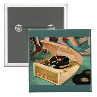 1950s portable record player ad 15 cm square badge
