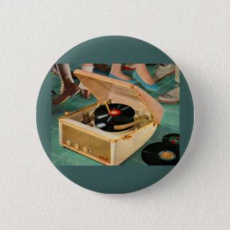 1950s portable record player ad 6 cm round badge