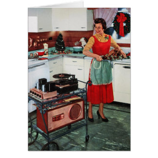1950s retro vintage housewife in kitchen & turkey card